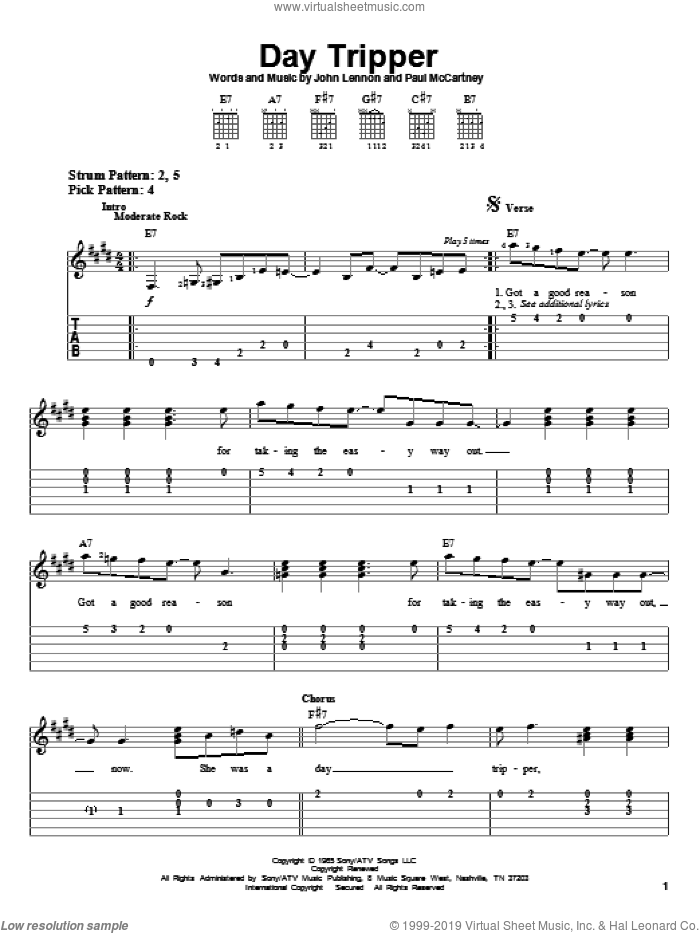 Day Tripper sheet music for guitar solo (easy tablature) by Paul McCartney, The Beatles and John Lennon. Score Image Preview.