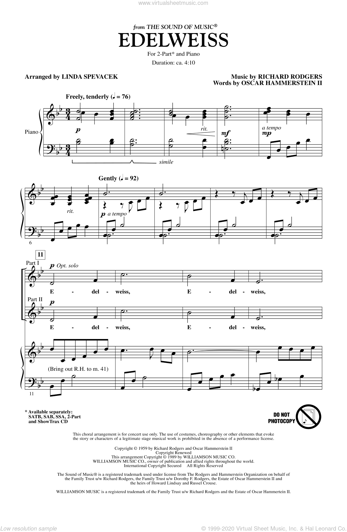 Edelweiss (from The Sound Of Music) sheet music for choir and piano (duets) by Oscar II Hammerstein