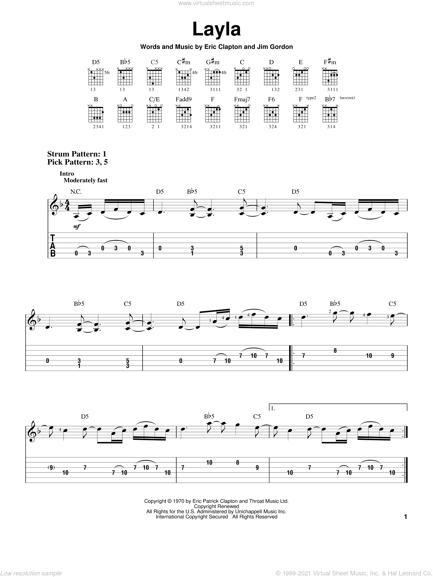 Layla sheet music for guitar solo (easy tablature) by Jim Gordon