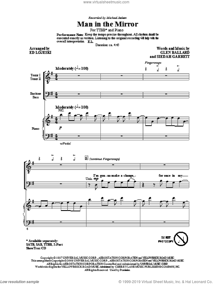 Man In The Mirror sheet music for choir and piano (TTBB) by Glen Ballard