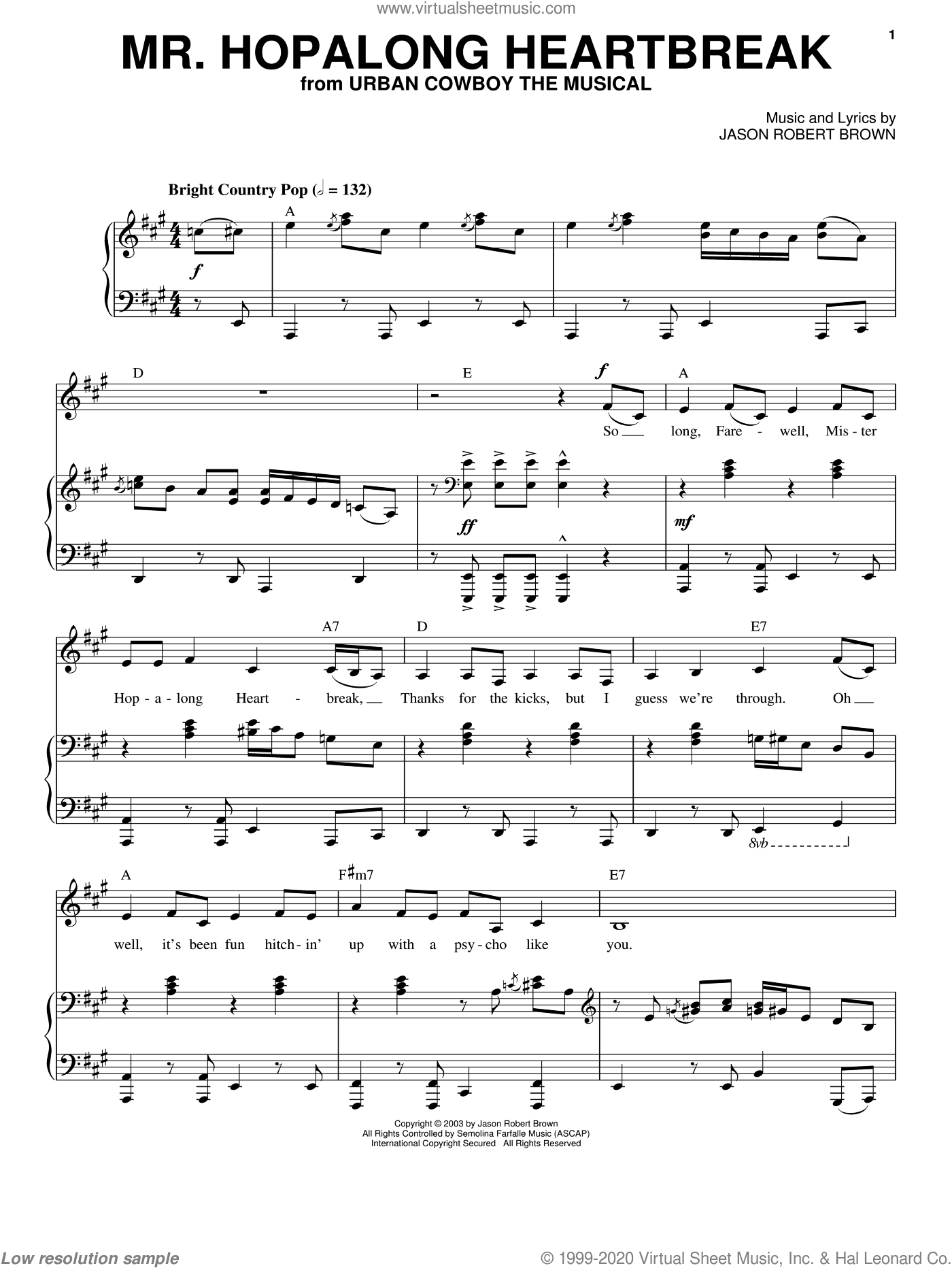 Mr. Hopalong Heartbreak sheet music for voice and piano by Jason Robert Brown and Urban Cowboy (Musical), intermediate skill level