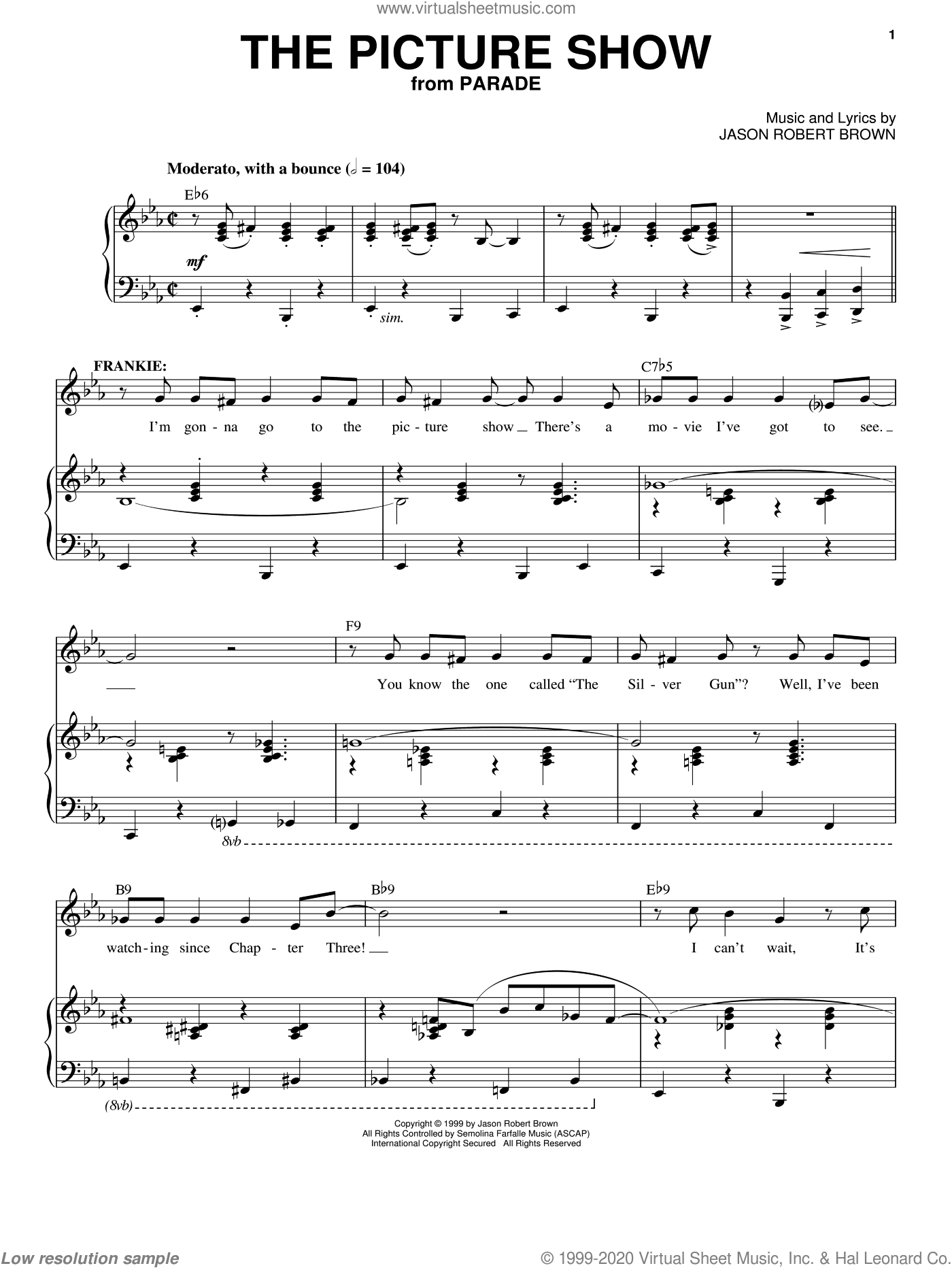 The Picture Show sheet music for voice and piano by Jason Robert Brown. Score Image Preview.