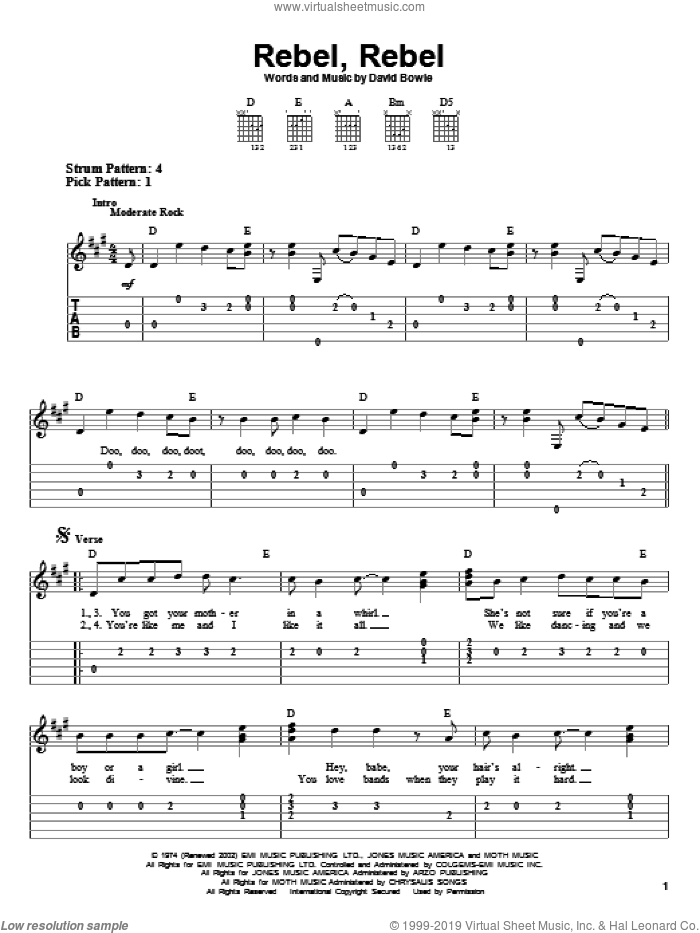 Rebel, Rebel sheet music for guitar solo (easy tablature) by David Bowie. Score Image Preview.