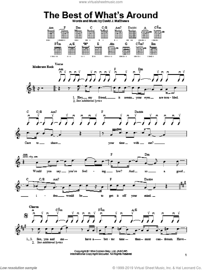 The Best Of What's Around sheet music for guitar solo (chords) by Dave Matthews Band. Score Image Preview.