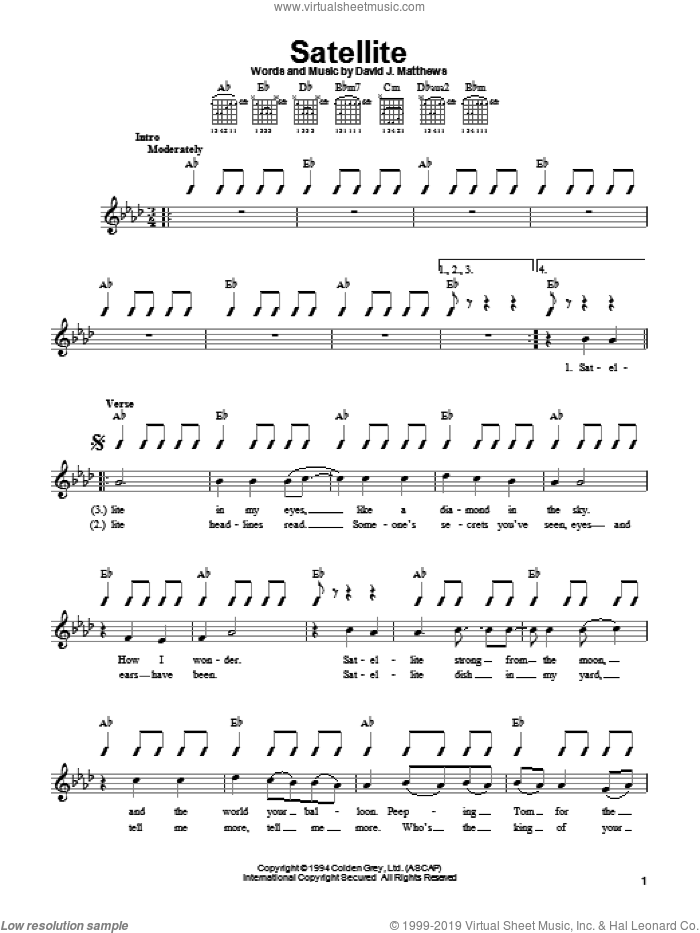 Satellite sheet music for guitar solo (chords) by Dave Matthews Band. Score Image Preview.