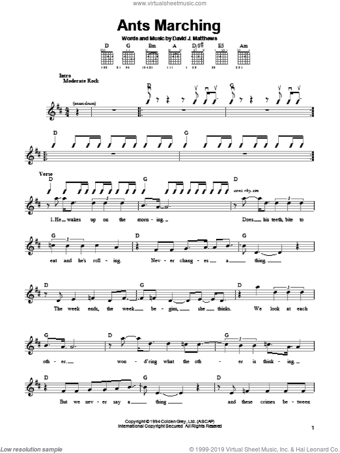 Ants Marching sheet music for guitar solo (chords) by Dave Matthews Band. Score Image Preview.