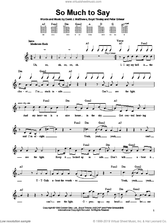 So Much To Say sheet music for guitar solo (chords) by Peter Griesar and Dave Matthews Band. Score Image Preview.