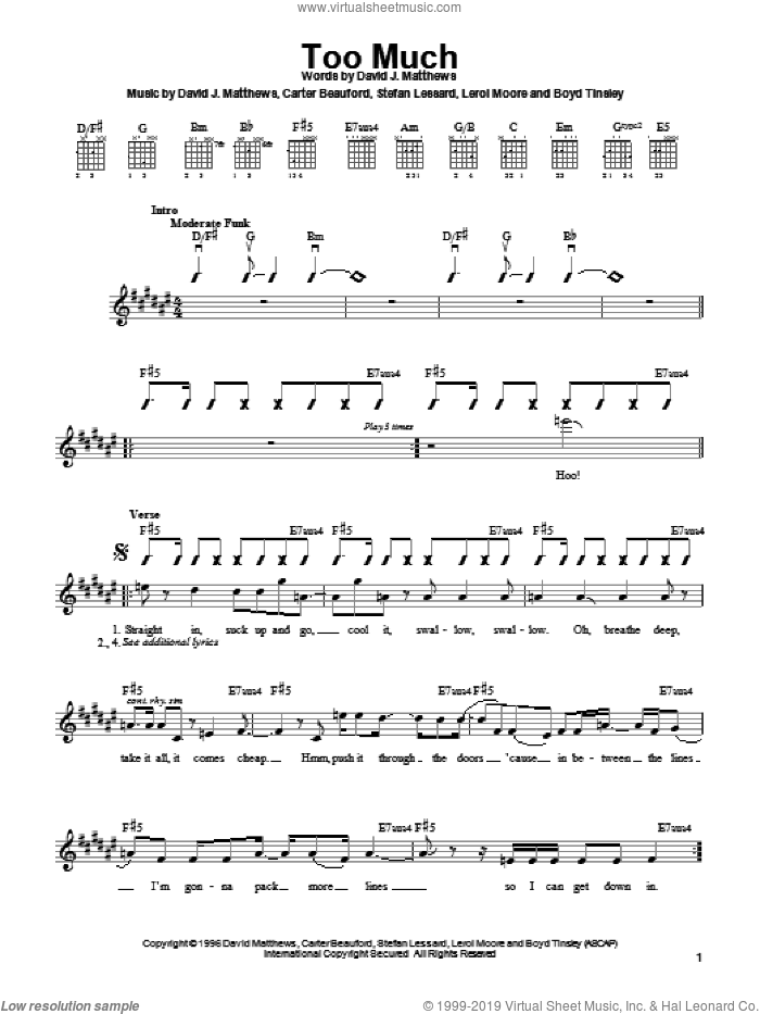 Too Much sheet music for guitar solo (chords) by Stefan Lessard