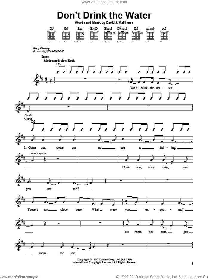 Don't Drink The Water sheet music for guitar solo (chords) by Dave Matthews Band, easy guitar (chords)