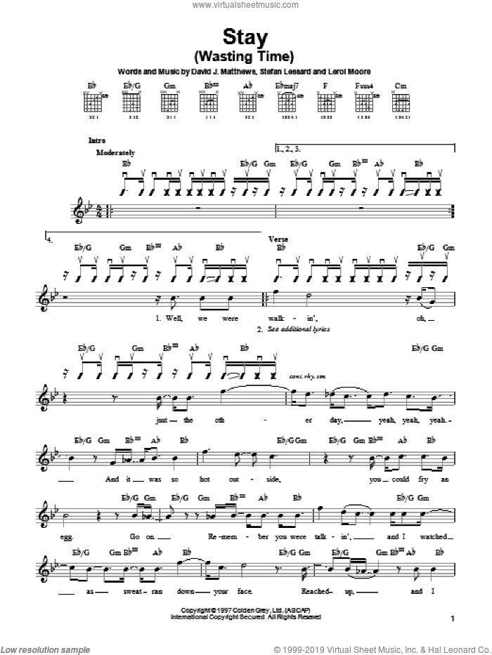 Stay (Wasting Time) sheet music for guitar solo (chords) by Stefan Lessard