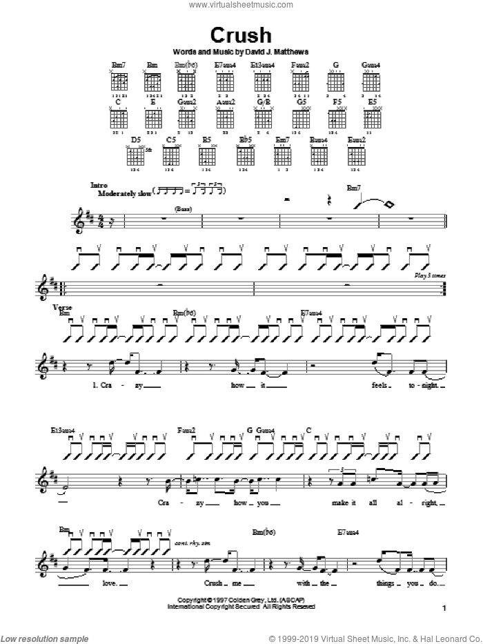 Band - Crush sheet music for guitar solo (chords) [PDF]