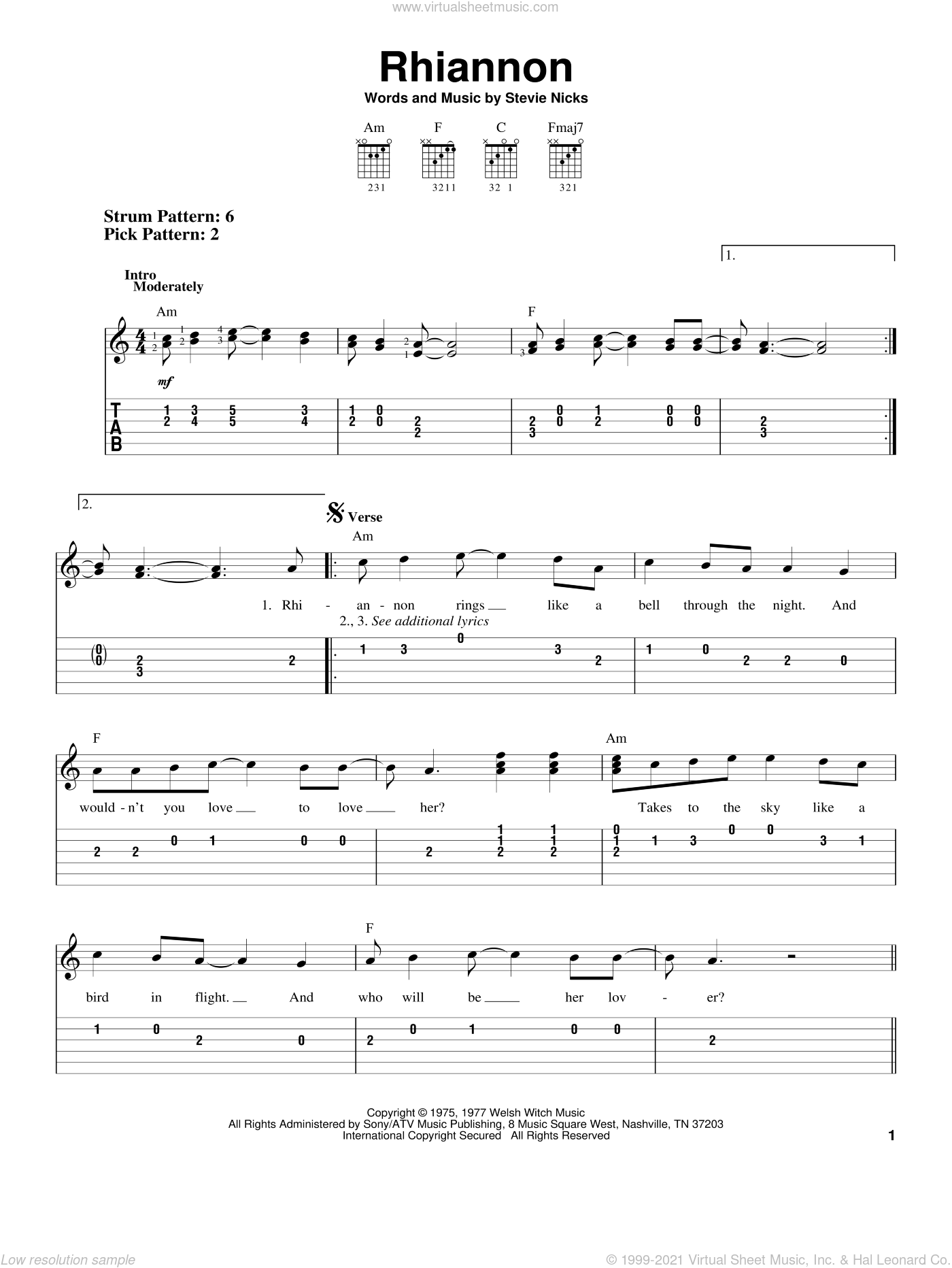 Rhiannon sheet music for guitar solo (easy tablature) by Fleetwood Mac and Stevie Nicks, easy guitar (easy tablature)