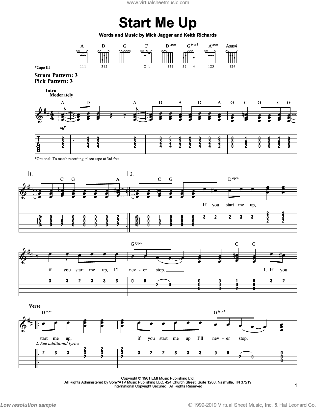 Start Me Up sheet music for guitar solo (easy tablature) by Mick Jagger, The Rolling Stones and Keith Richards. Score Image Preview.