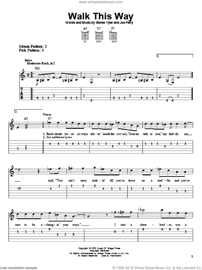 Walk This Way sheet music for guitar solo (easy tablature) by Aerosmith, easy guitar (easy tablature). Score Image Preview.