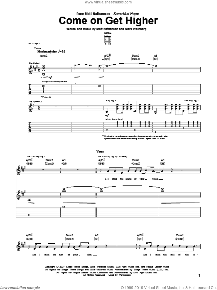 Come On Get Higher sheet music for guitar (tablature) by Matt Nathanson and Mark Weinberg, intermediate skill level