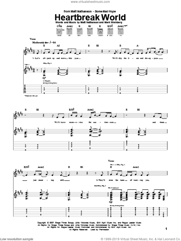 Heartbreak World sheet music for guitar (tablature) by Matt Nathanson. Score Image Preview.