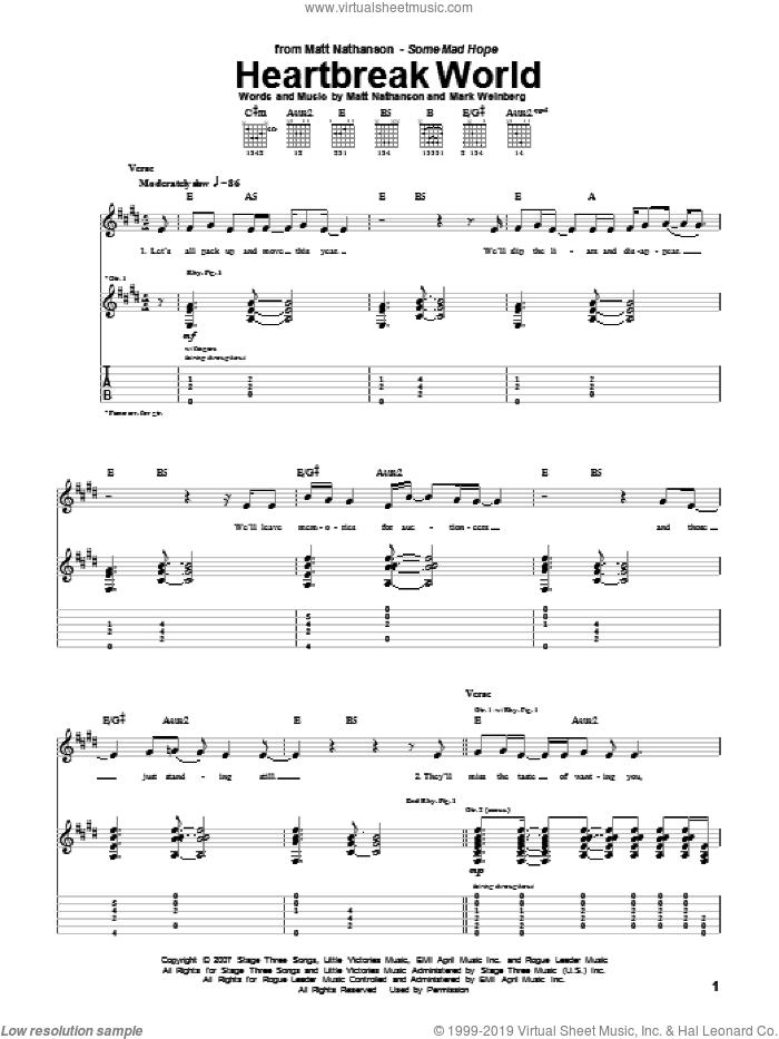 Heartbreak World sheet music for guitar (tablature) by Matt Nathanson and Mark Weinberg, intermediate skill level