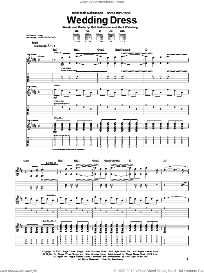 Wedding Dress sheet music for guitar (tablature) by Matt Nathanson, intermediate guitar (tablature). Score Image Preview.