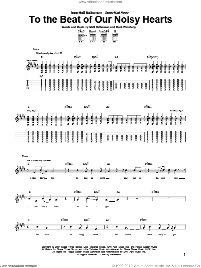 To The Beat Of Our Noisy Hearts sheet music for guitar (tablature) by Matt Nathanson and Mark Weinberg, intermediate