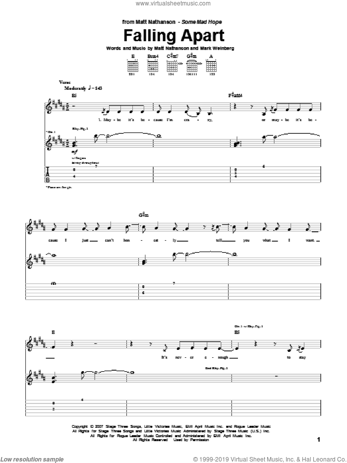 Falling Apart sheet music for guitar (tablature) by Mark Weinberg and Matt Nathanson. Score Image Preview.