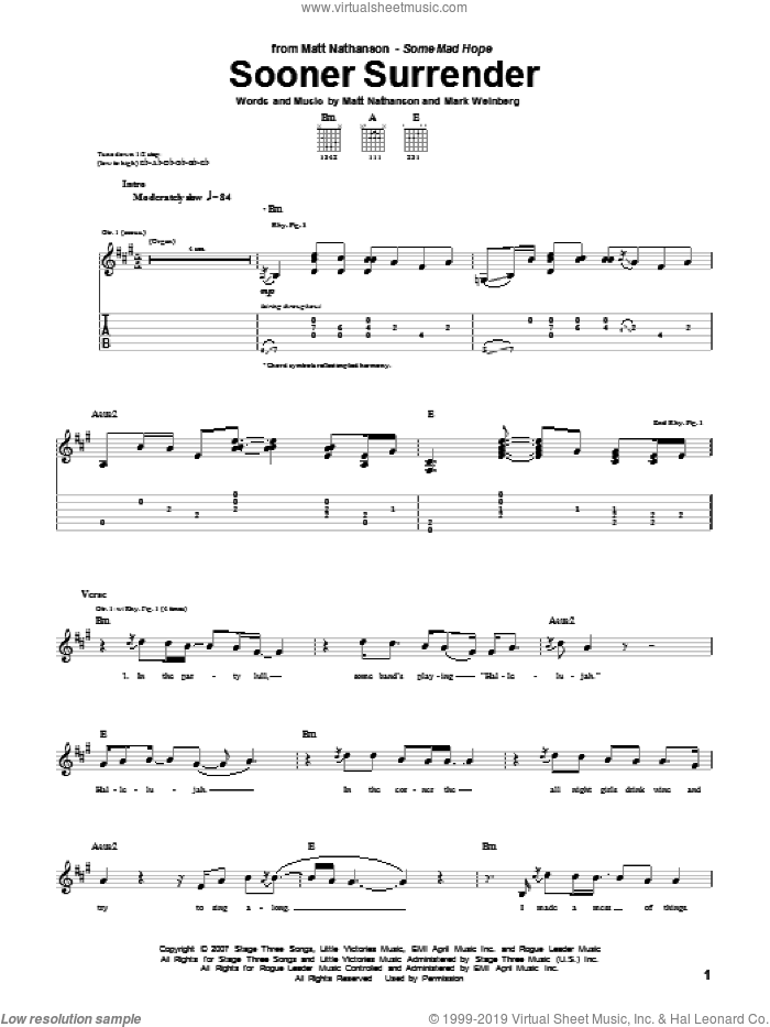 Sooner Surrender sheet music for guitar (tablature) by Matt Nathanson and Mark Weinberg, intermediate
