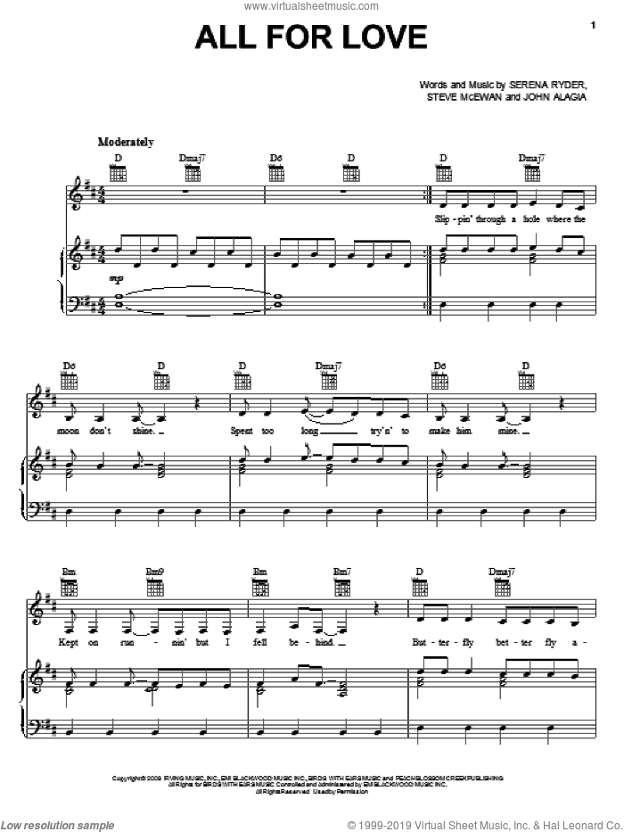 All For Love sheet music for voice, piano or guitar by Serena Ryder and Steve McEwan. Score Image Preview.