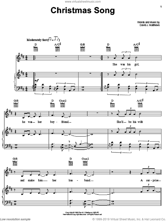 Christmas Song sheet music for voice, piano or guitar by Dave Matthews Band