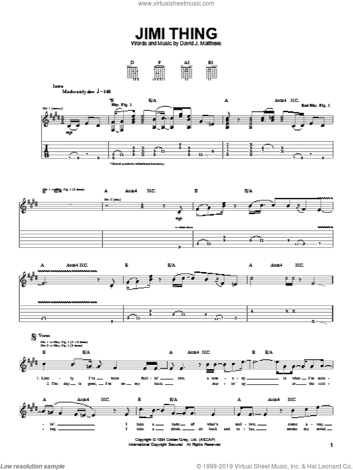 Jimi Thing sheet music for guitar (tablature) by Dave Matthews Band