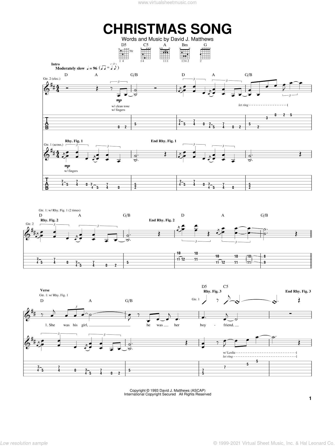 Christmas Song sheet music for guitar (tablature) by Dave Matthews Band, intermediate guitar (tablature). Score Image Preview.