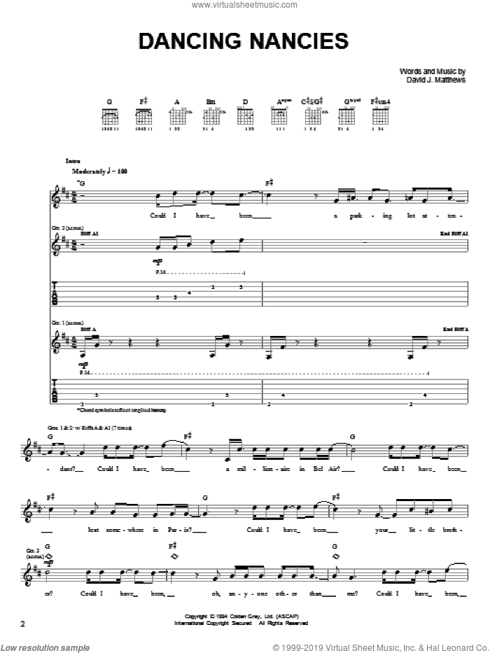 Dancing Nancies sheet music for guitar solo (chords) by Dave Matthews Band, easy guitar (chords)