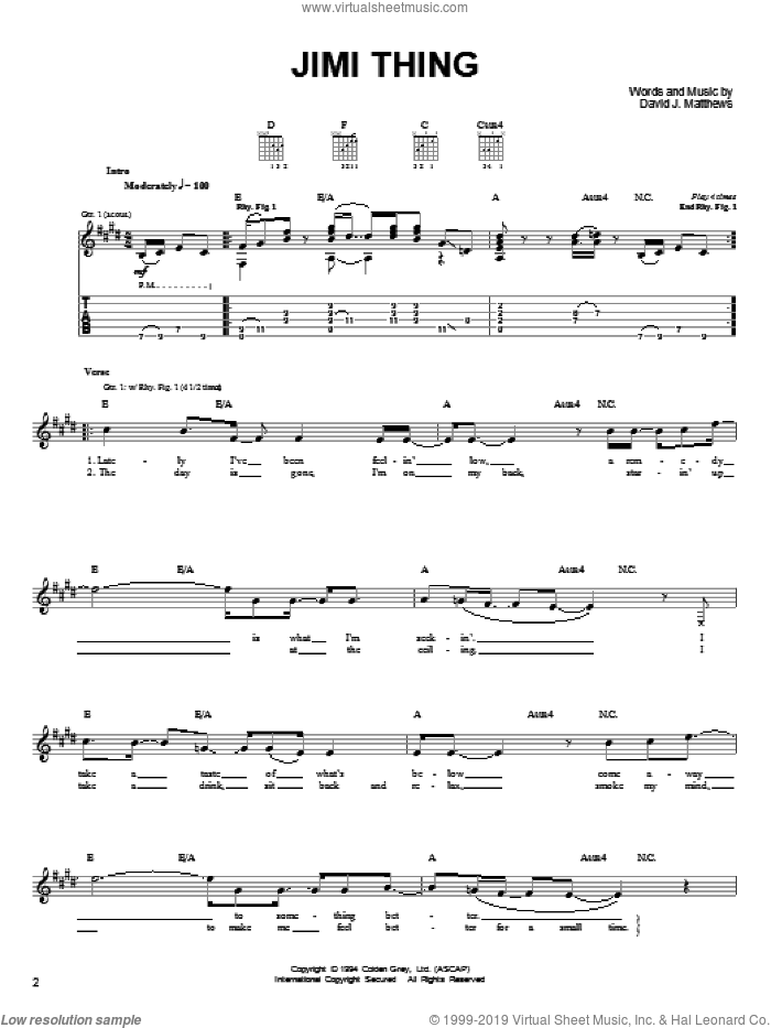 Jimi Thing sheet music for guitar solo (chords) by Dave Matthews Band. Score Image Preview.