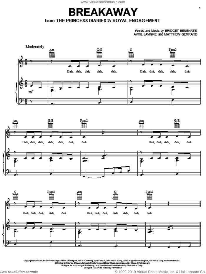Breakaway sheet music for voice, piano or guitar by Matthew Gerrard