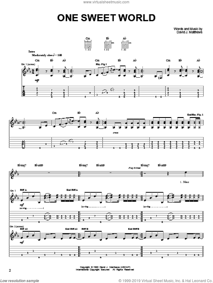 One Sweet World sheet music for guitar solo (chords) by Dave Matthews Band, easy guitar (chords). Score Image Preview.
