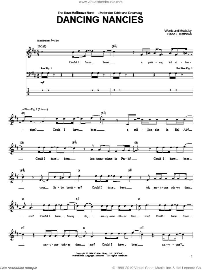 Dancing Nancies sheet music for bass (tablature) (bass guitar) by Dave Matthews Band