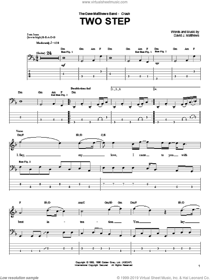 Two Step sheet music for bass (tablature) (bass guitar) by Dave Matthews Band. Score Image Preview.