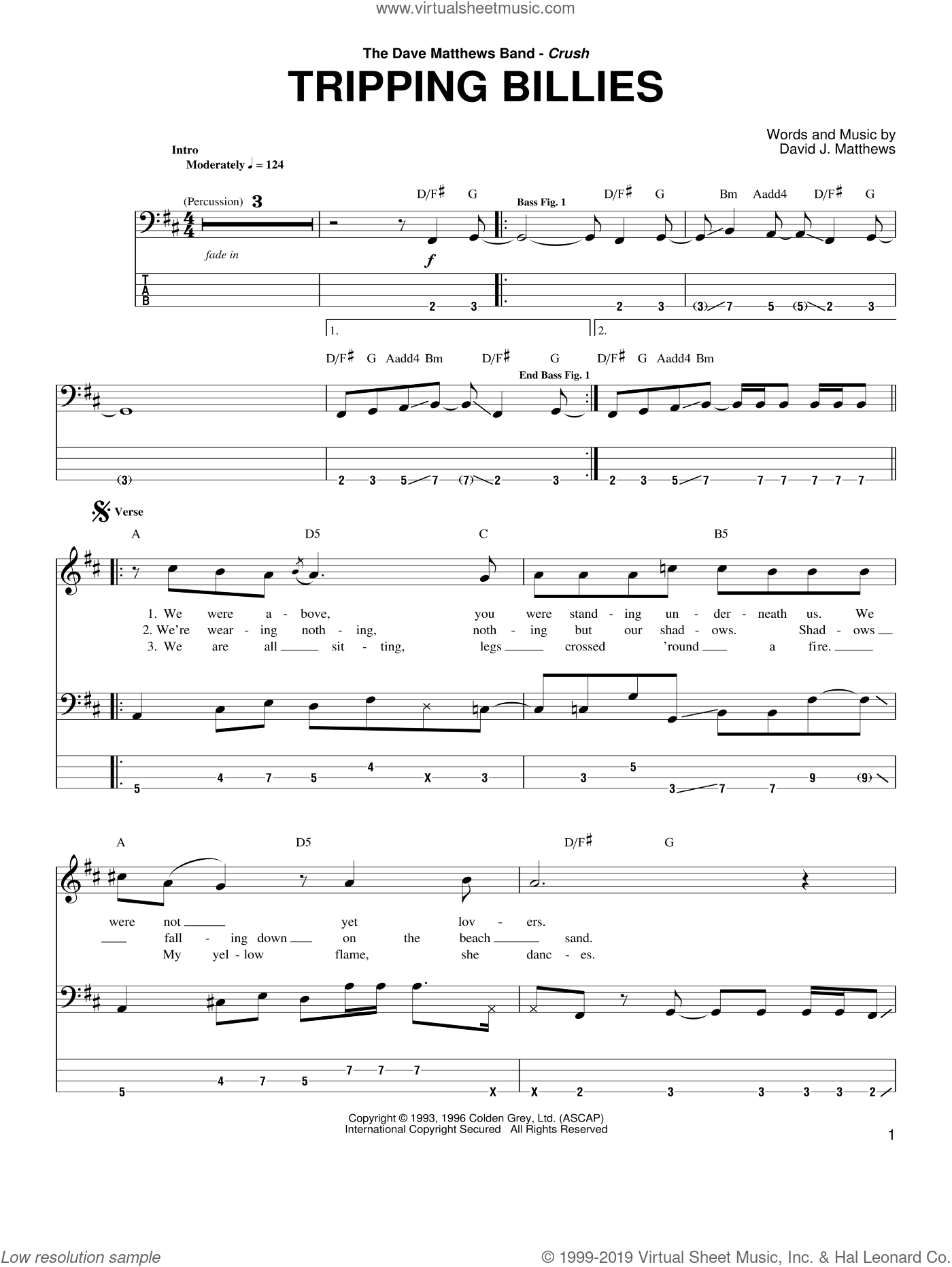 Tripping Billies sheet music for bass (tablature) (bass guitar) by Dave Matthews Band, intermediate skill level