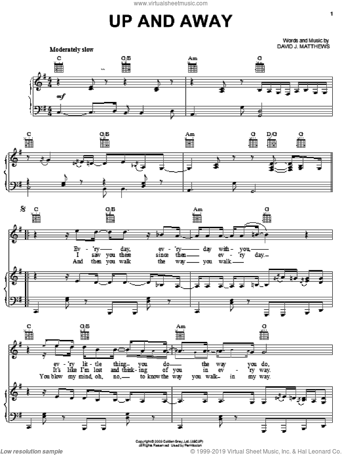 Up and Away sheet music for voice, piano or guitar by Dave Matthews Band and Dave Matthews. Score Image Preview.