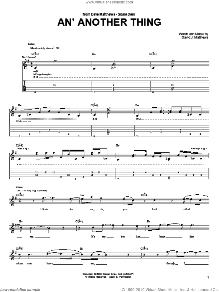 An' Another Thing sheet music for guitar (tablature) by Dave Matthews and Dave Matthews Band, intermediate. Score Image Preview.