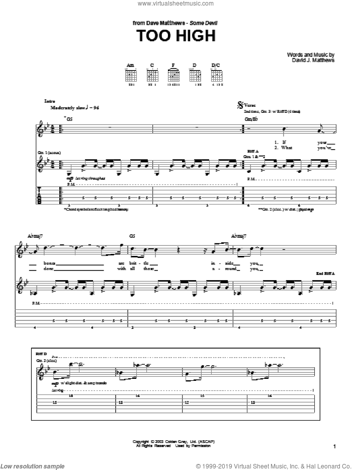 Too High sheet music for guitar (tablature) by Dave Matthews Band and Dave Matthews. Score Image Preview.