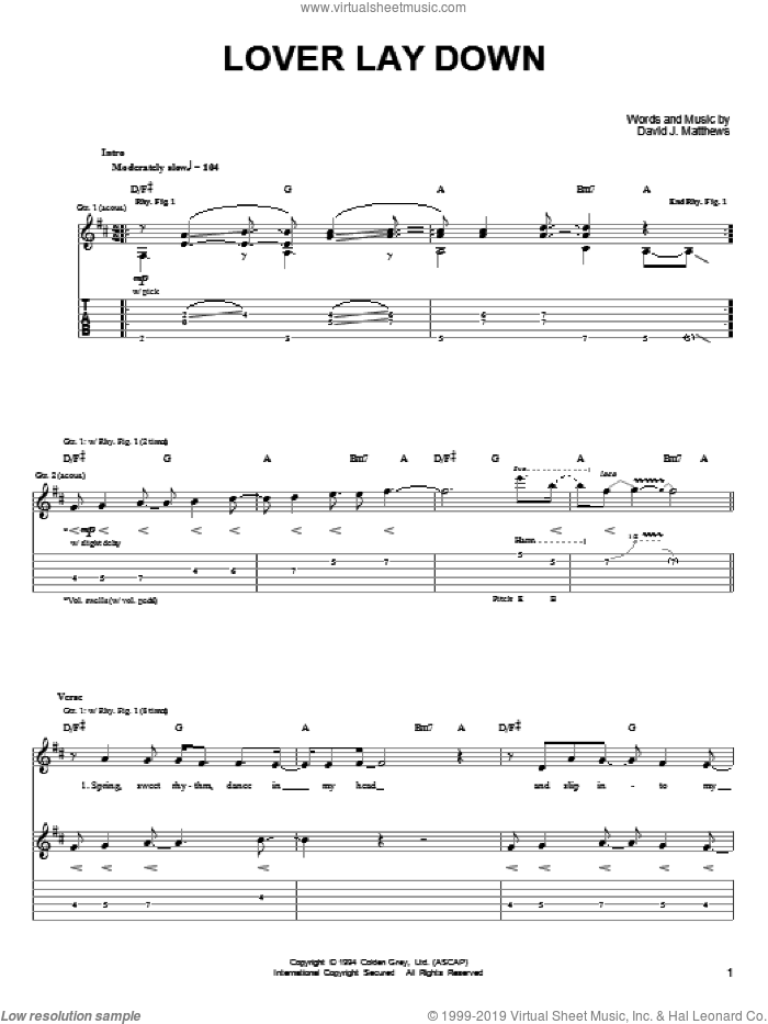 Lover Lay Down sheet music for guitar (tablature) by Dave Matthews & Tim Reynolds, Dave Matthews, Tim Reynolds and Dave Matthews Band, intermediate skill level