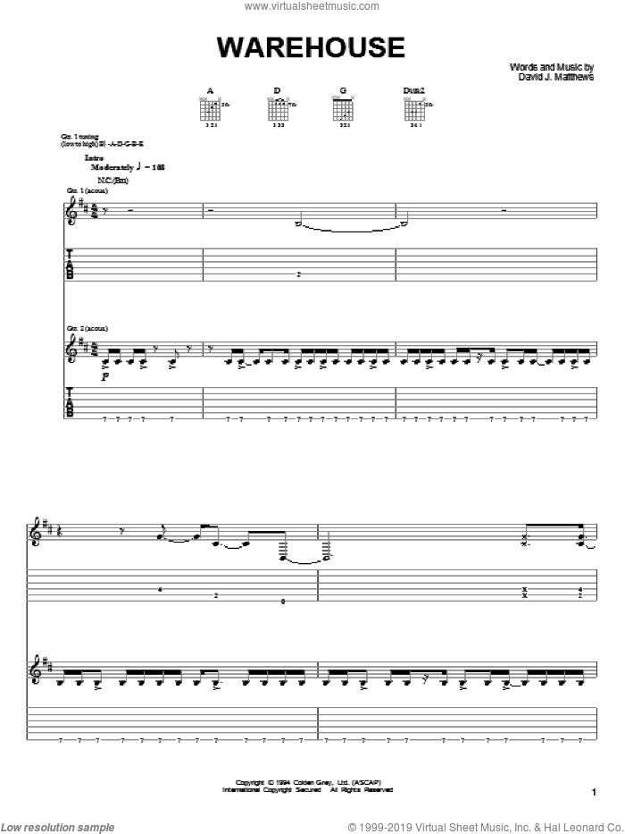 Warehouse sheet music for guitar (tablature) by Dave Matthews & Tim Reynolds, Dave Matthews, Tim Reynolds and Dave Matthews Band. Score Image Preview.