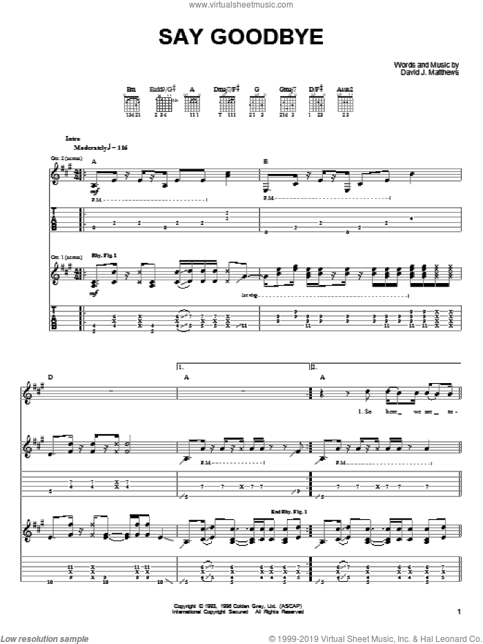 Say Goodbye sheet music for guitar (tablature) by Dave Matthews & Tim Reynolds, Dave Matthews, Tim Reynolds and Dave Matthews Band, intermediate
