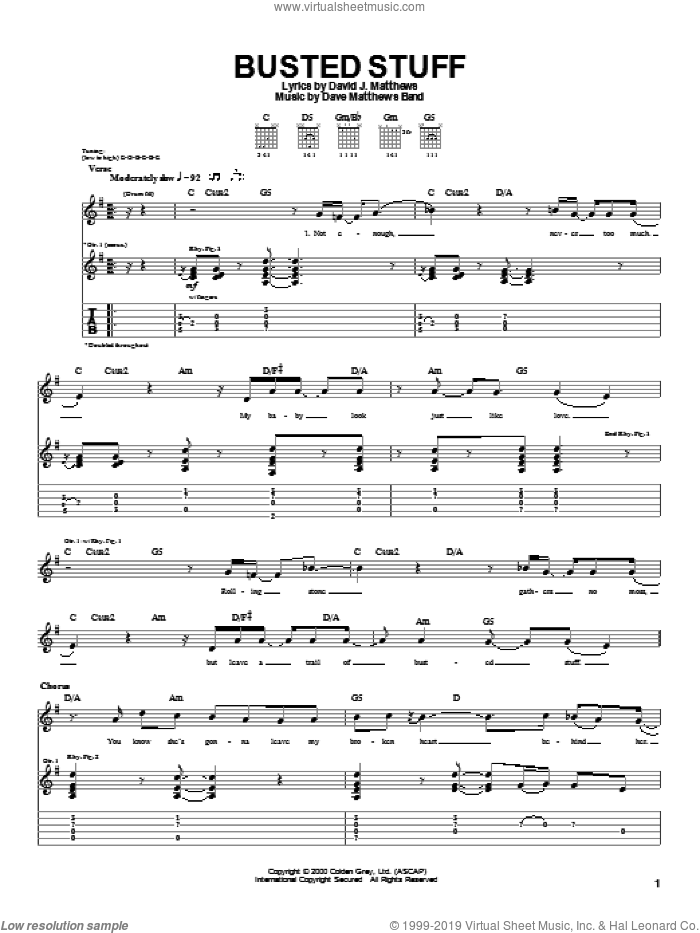 Busted Stuff sheet music for guitar (tablature) by Dave Matthews Band. Score Image Preview.