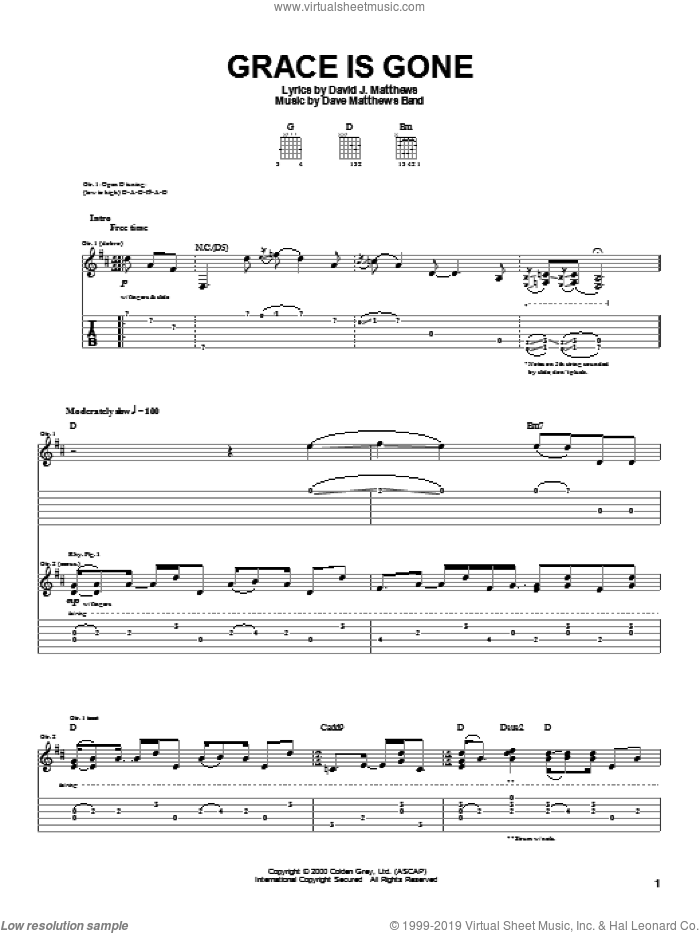 Grace Is Gone sheet music for guitar (tablature) by Dave Matthews Band, intermediate guitar (tablature). Score Image Preview.