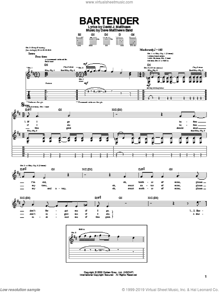 Bartender sheet music for guitar (tablature) by Dave Matthews Band, intermediate guitar (tablature). Score Image Preview.