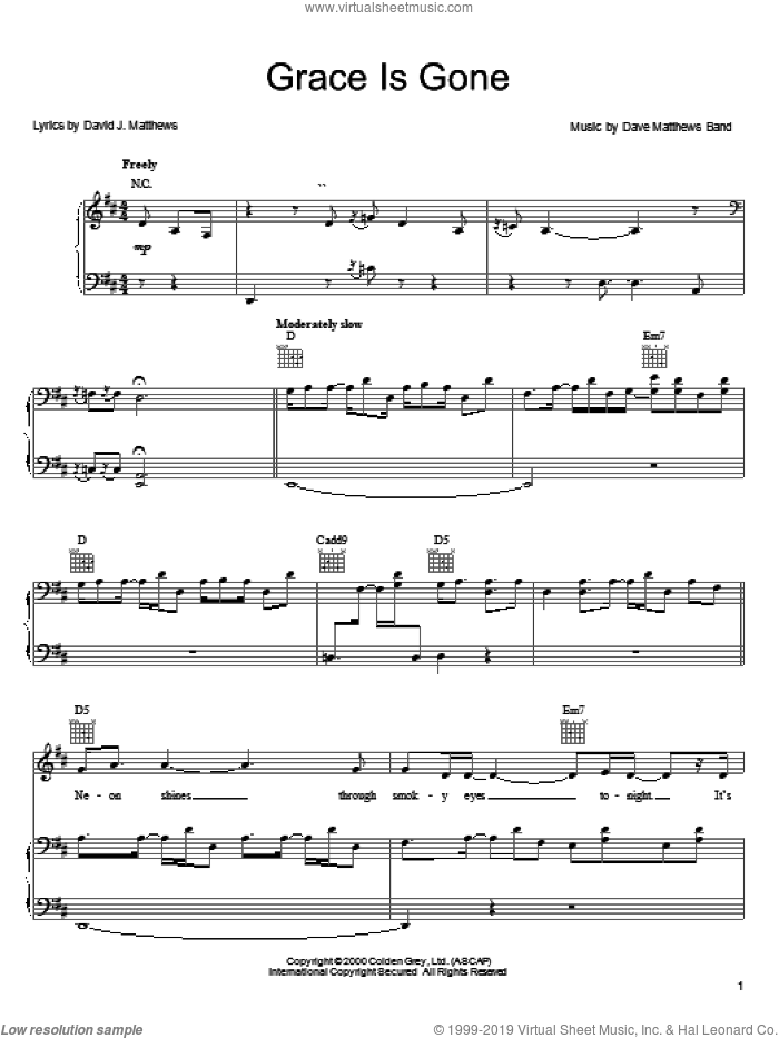 Grace Is Gone sheet music for voice, piano or guitar by Dave Matthews Band, intermediate skill level