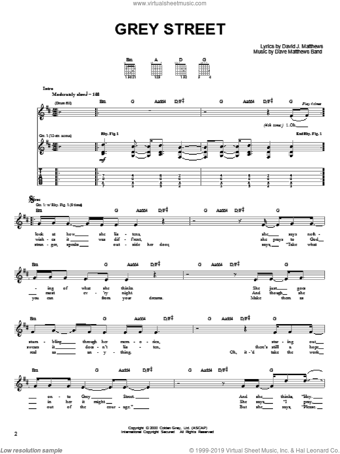 Grey Street sheet music for guitar solo (chords) by Dave Matthews Band, easy guitar (chords)