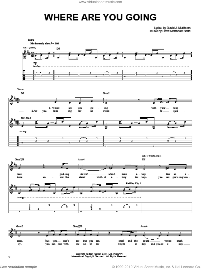 Where Are You Going sheet music for guitar solo (chords) by Dave Matthews Band. Score Image Preview.