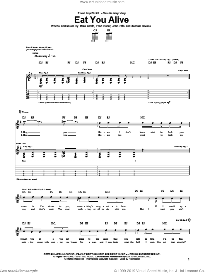 Eat You Alive sheet music for guitar (tablature) by Limp Bizkit and Michael W. Smith. Score Image Preview.