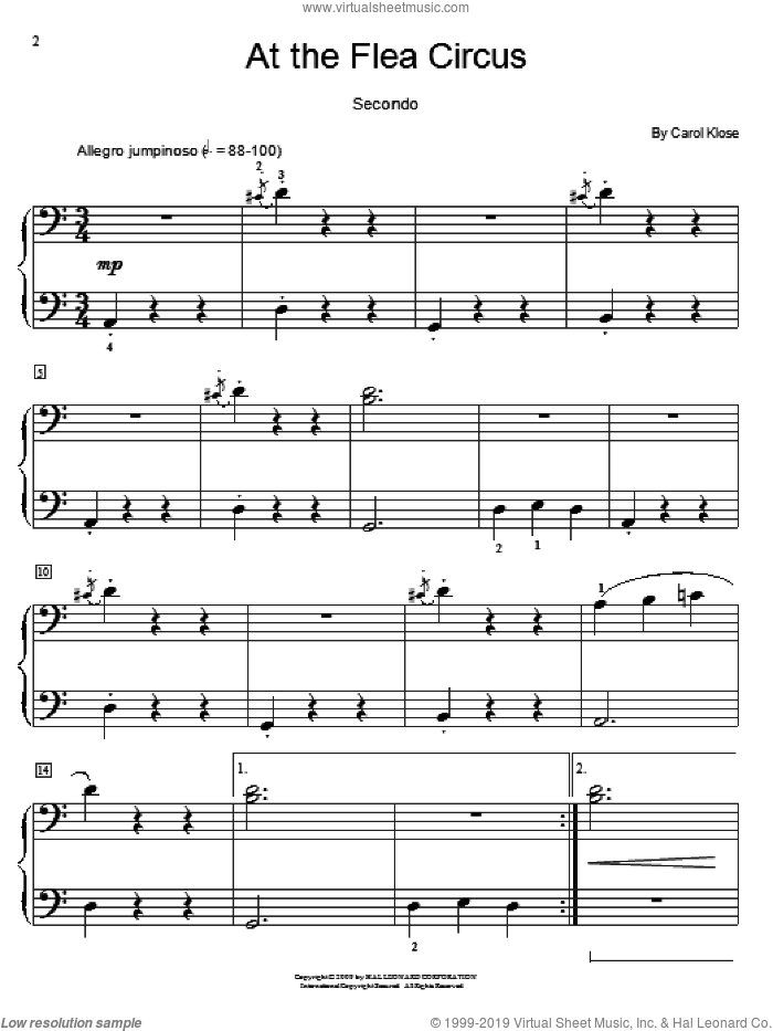 At The Flea Circus sheet music for piano four hands (duets) by Carol Klose
